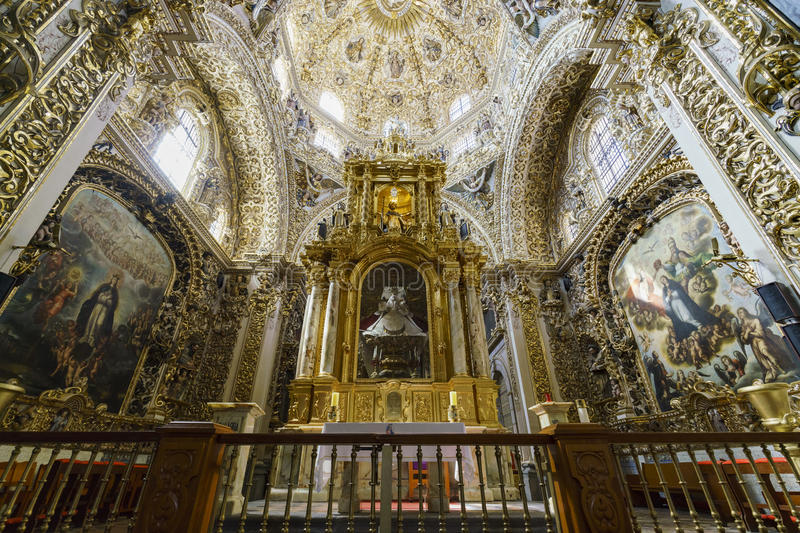 Interior view of Church of Santo Domingo. Puebla, FEB 18: Interior view of Church of Santo Domingo on FEB 18, 2017 at Puebla, Mexico royalty free stock photo
