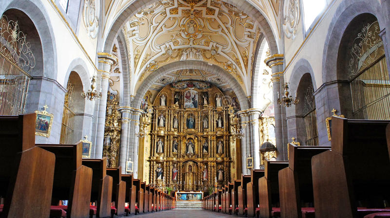 Santo domingo temple, city of puebla, mexican state of puebla. Interior view of Church of Santo Domingo Templo y exconvento de Santo Domingo de Guzmán. It is stock image
