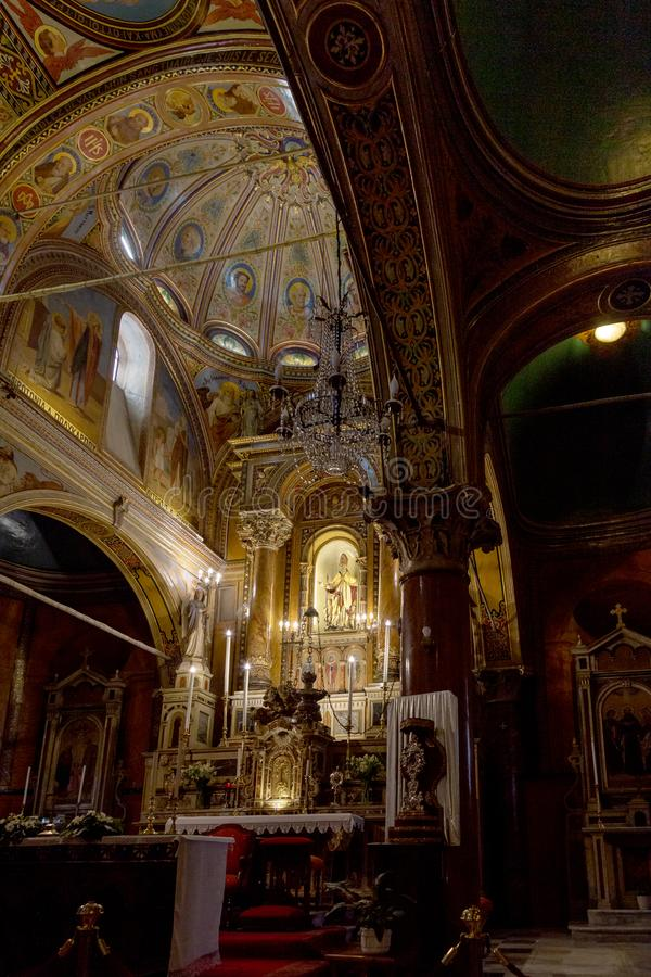 Interior view of the Church of St Polycarp in Izmir, toward the main altar. stock image