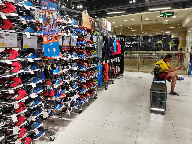 interior view of decathlon sports goods store in Wuhan city royalty free stock photo