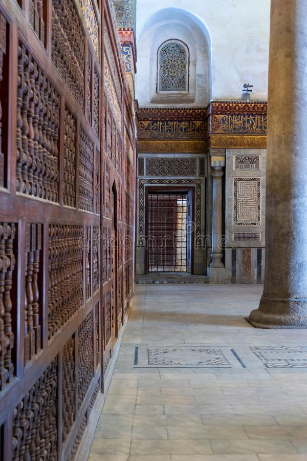 Decorated marble walls surrounding the cenotaph in the mausoleum of Sultan Qalawun, Old Cairo, Egypt stock photography