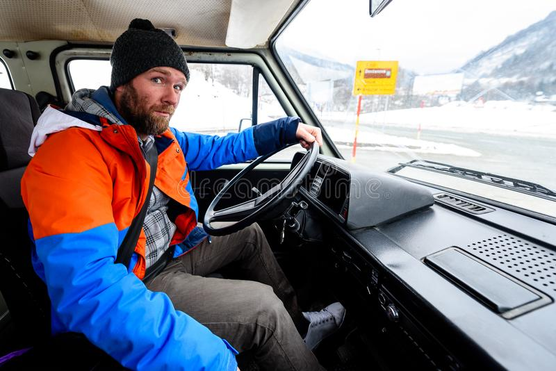 Interior View Of Delivery Man Driving A Van Or Truck. Stock Photo ...