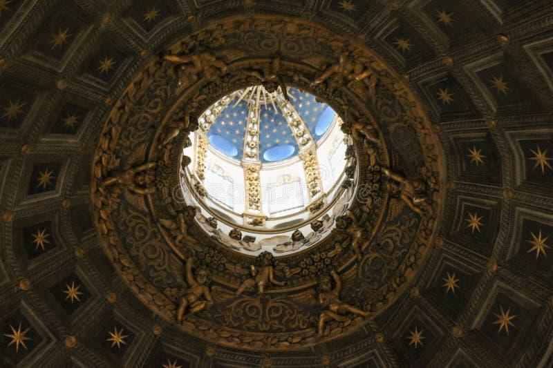 Interior view of the dome of Duomo di Siena. Metropolitan Cathedral of Santa Maria Assunta. Tuscany. Italy. stock photography
