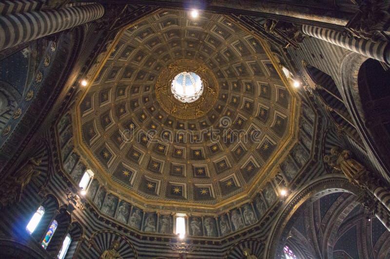 Interior view of the dome of Duomo di Siena. Metropolitan Cathedral of Santa Maria Assunta. Tuscany. Italy. royalty free stock images