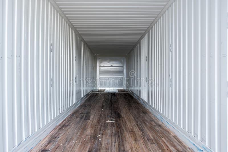 Interior view of empty semi truck dry van trailer stock images