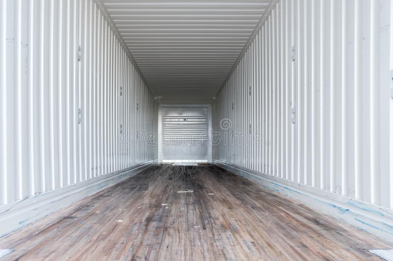 Interior view of empty semi truck dry van trailer. Inside of commercial freight trailer stock image