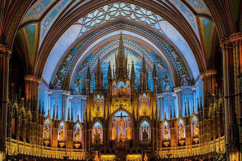 Interior view of the famous Basilique Notre-dame De Montreal. Quebec, OCT 2: Interior view of the Basilique Notre-dame De Montreal on OCT 2, 2018 at Quebec stock photography