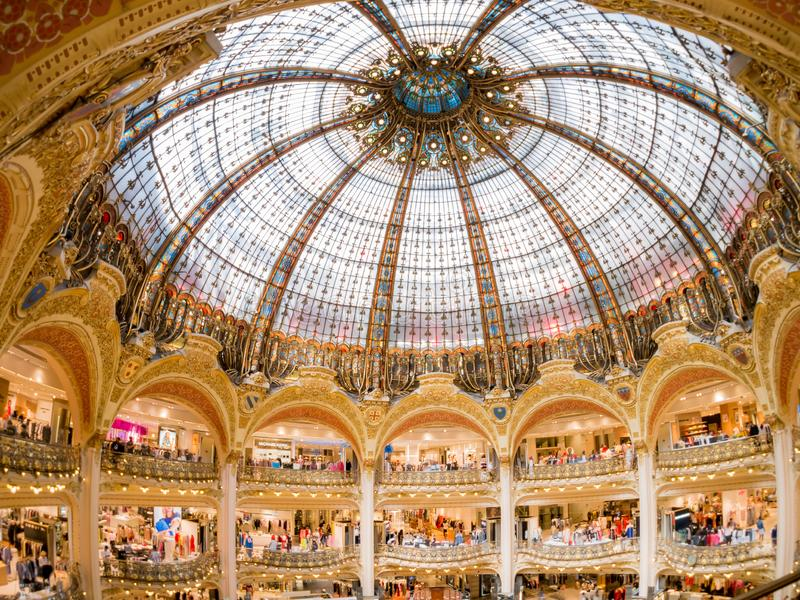 Interior view of the famous Galeries La Fayette shopping mall. France, MAY 7: Interior view of the famous Galeries La Fayette shopping mall on MAY 7, 2018 at royalty free stock photos