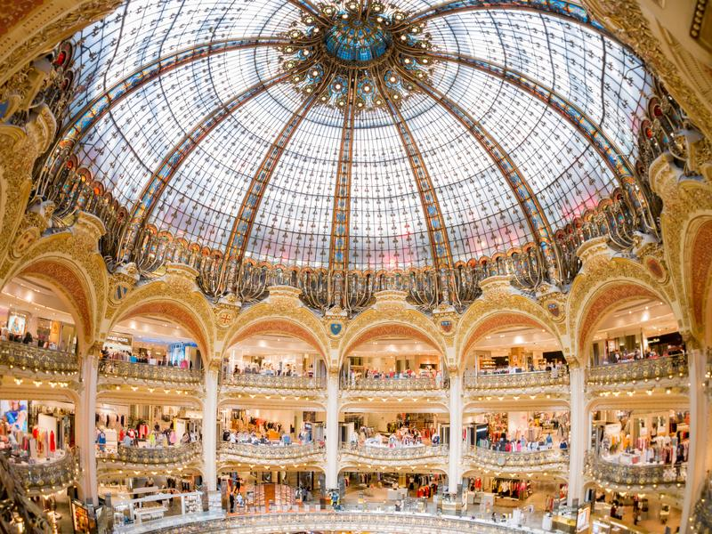 Interior view of the famous Galeries La Fayette shopping mall. France, MAY 7: Interior view of the famous Galeries La Fayette shopping mall on MAY 7, 2018 at royalty free stock image
