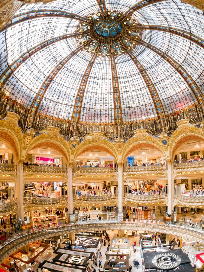 Interior view of the famous Galeries La Fayette shopping mall. France, MAY 7: Interior view of the famous Galeries La Fayette shopping mall on MAY 7, 2018 at royalty free stock photography