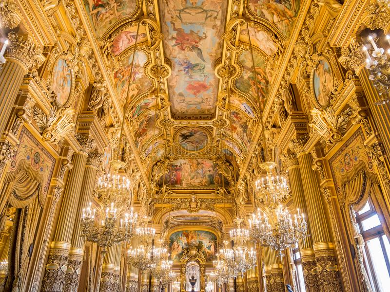 Interior view of the famous Grand Foyer of Palais Garnier. France, MAY 7: Interior view of the famous Grand Foyer of Palais Garnier on MAY 7, 2018 at France stock images