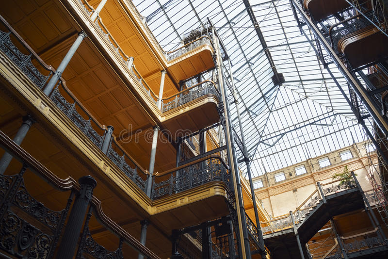Interior view of the famous and historical bradbury building royalty free stock image