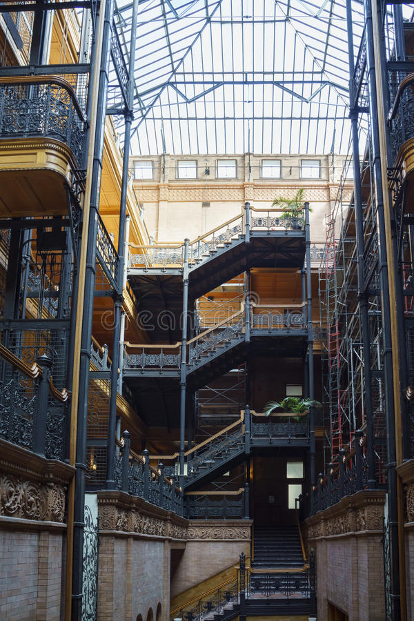 Interior view of the famous and historical bradbury building. Los Angeles , APR 11: Interior view of the famous and historical bradbury building on APR 11, 2017 stock image