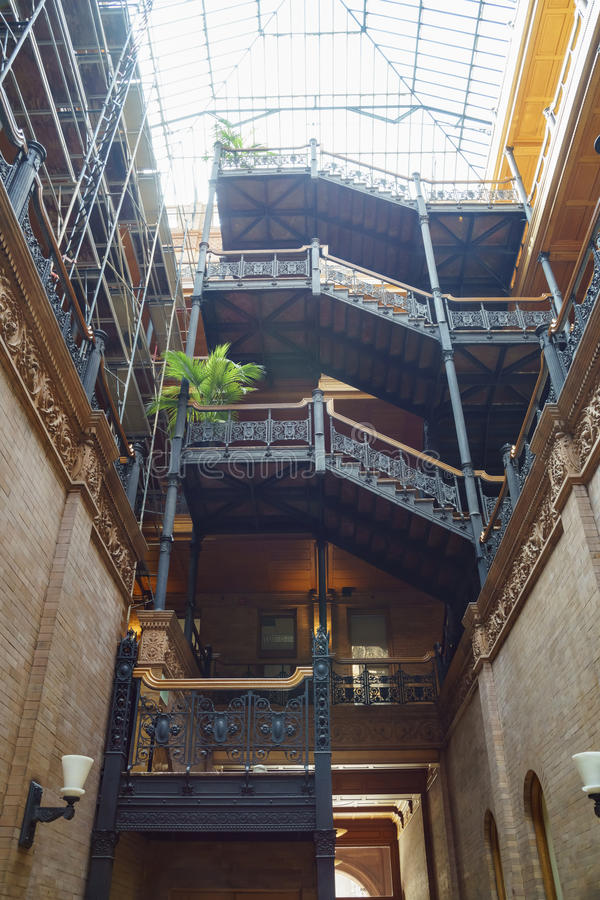 Interior view of the famous and historical bradbury building. Los Angeles , APR 11: Interior view of the famous and historical bradbury building on APR 11, 2017 stock photography