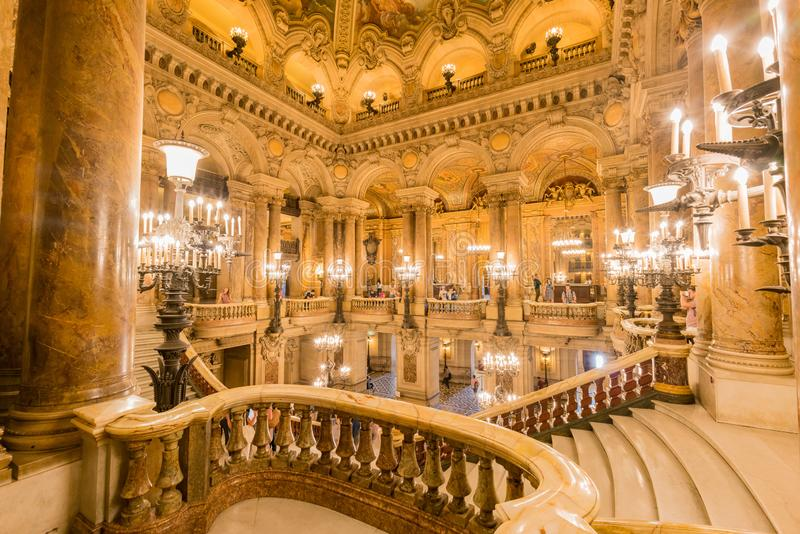 Interior view of the famous Monumental stairway of Palais Garnier. France, MAY 7: Interior view of the famous Monumental stairway of Palais Garnier on MAY 7 stock photos