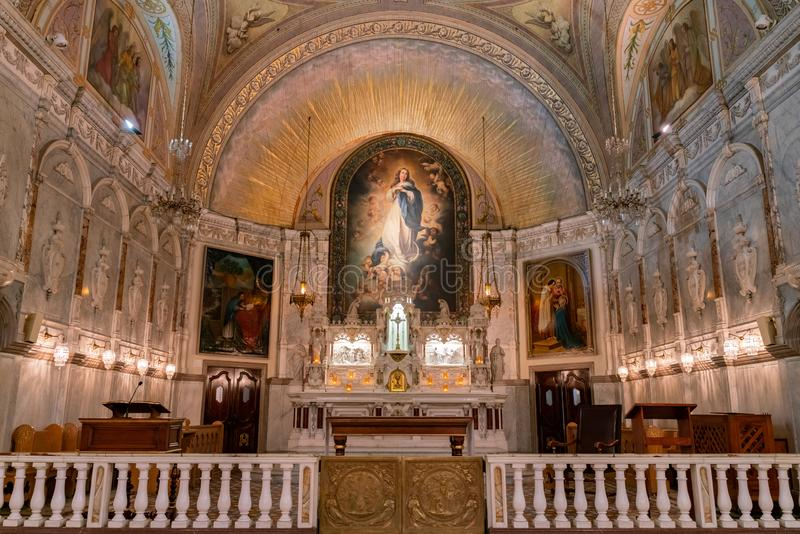 Interior view of the famous Notre-Dame-de-Bon-Secours Chapel. Montreal, OCT 3: Interior view of the famous Notre-Dame-de-Bon-Secours Chapel of Montreal on OCT 3 stock photography