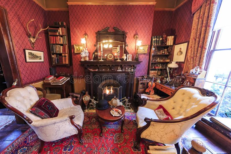 Interior view of the famous The Sherlock Holmes Museum, London,. London, NOV 14: Interior view of the famous The Sherlock Holmes Museum on NOV 14, 2015 at London royalty free stock photo