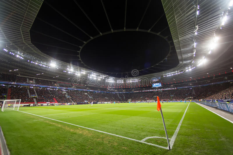 Interior view of the full BayArena Stadium during the UEFA Champ stock photos