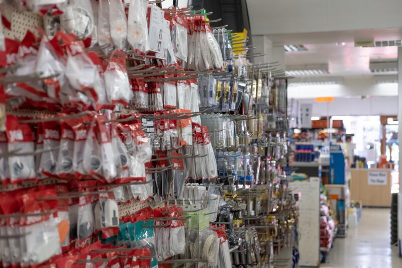 Interior view of a general hardware and DIY store showing the various hardware items and tools on display. stock photos