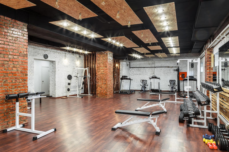 Interior view of a gym with equipment. royalty free stock photography