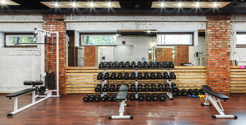 Interior view of a gym with equipment. royalty free stock photo