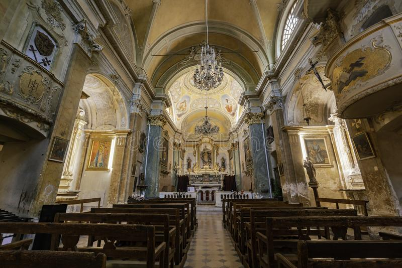 Interior view of the historical Church of Our Lady of the Assumption of Eze stock photography