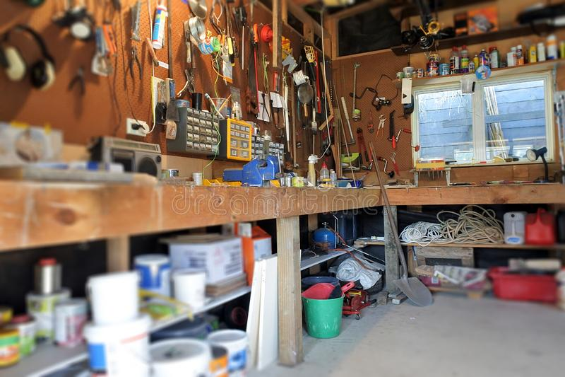 Interior View of Home Garage Workshop stock photography