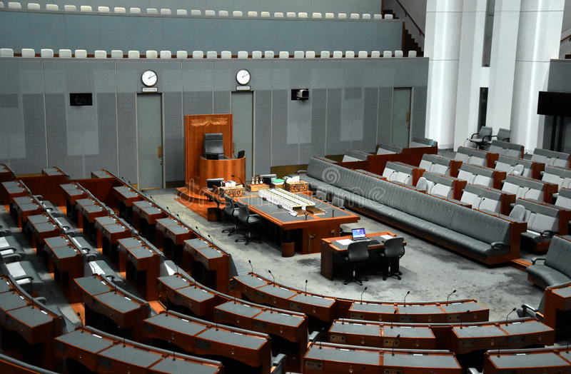 Interior view of the House of Representatives in Parliament House, Canberra stock photos