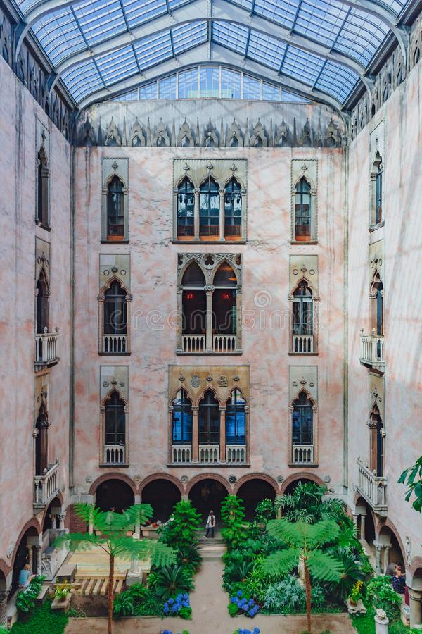 Interior view of the inner courtyard and garden of Isabella Stewart Gardner Museum in Boston. Boston, USA: May 27, 2017: Interior view of the inner courtyard and stock image