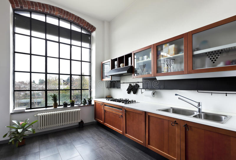 Interior, view of the kitchen. Beautiful house, interior, view of the kitchen royalty free stock photos