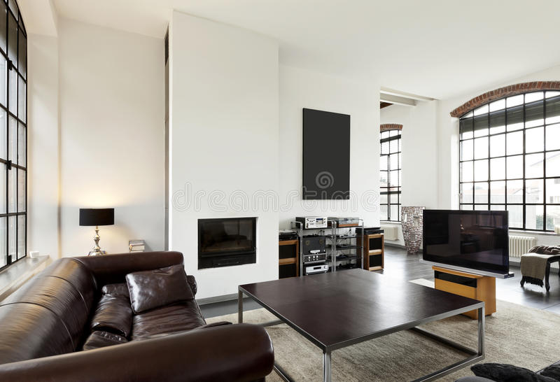 Interior, view of the living room. Beautiful house, interior, view of the living room royalty free stock photography