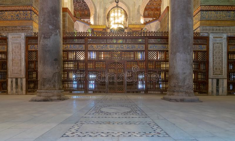 Interior view of the mausoleum of Sultan Qalawun, part of Sultan Qalawun Complex located in Al Moez Street, Cairo, Egypt. Interior view of the mausoleum of stock image