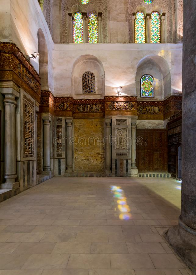 Interior view of the mausoleum of Sultan Qalawun, part of Sultan Qalawun Complex located in Al Moez Street, Cairo, Egypt. Interior view of the mausoleum of stock photos