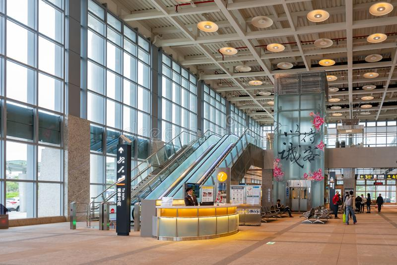 Interior view of the Miaoli County Taiwan High Speed Rail Station. Miaoli, DEC 21: Interior view of the Miaoli County Taiwan High Speed Rail on DEC 21, 2018 at stock photography