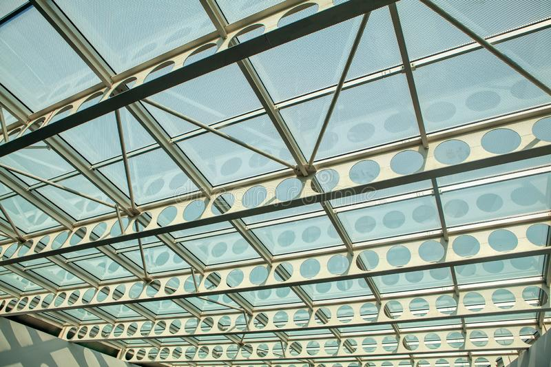 Ceiling structure. Interior view of modern ceiling structure stock images