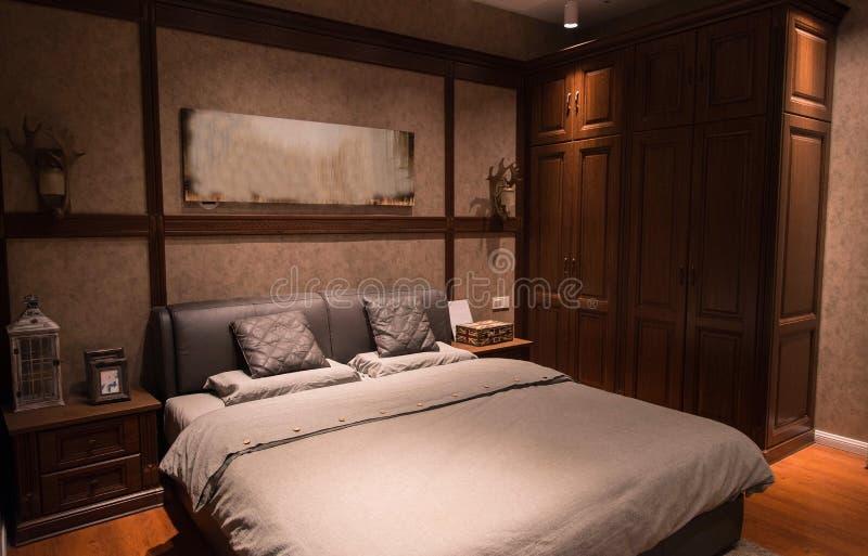 An interior view of a bedroom stock photos