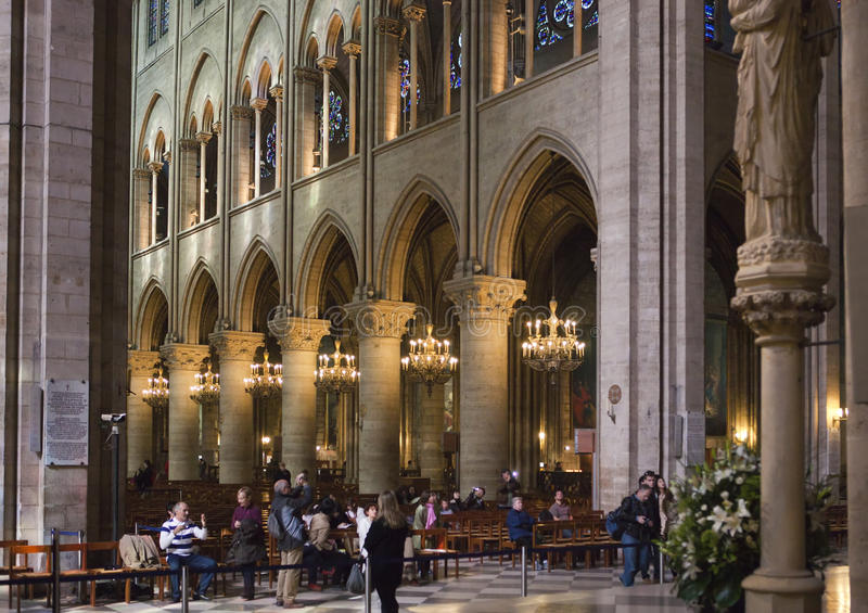 Interior view of Notre Dame Cathedral on March 14, 2012 in Paris, France royalty free stock photos