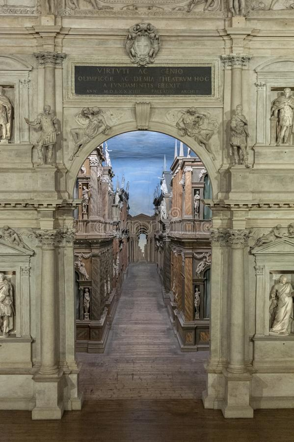 Interior view of the Olympic theatre teatro olimpico, the oldest surviving stage set still in existence stock photos