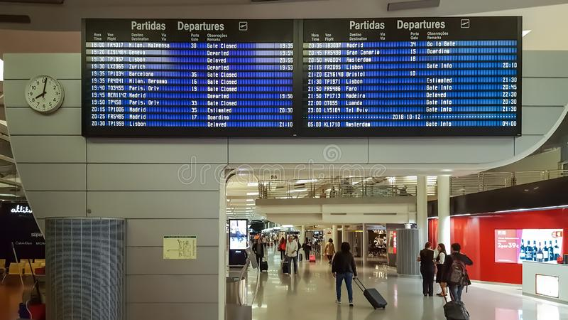 Interior view of the Porto airport building, with information departures board. Porto / PORTUGAL 10 11 2019: Interior view of the Porto airport building, with royalty free stock image