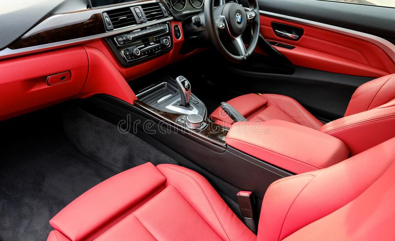 Interior view of powerful, German-made two seater sports car. royalty free stock photography