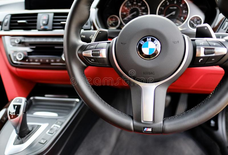Interior view of powerful, German-made two seater sports car. royalty free stock image