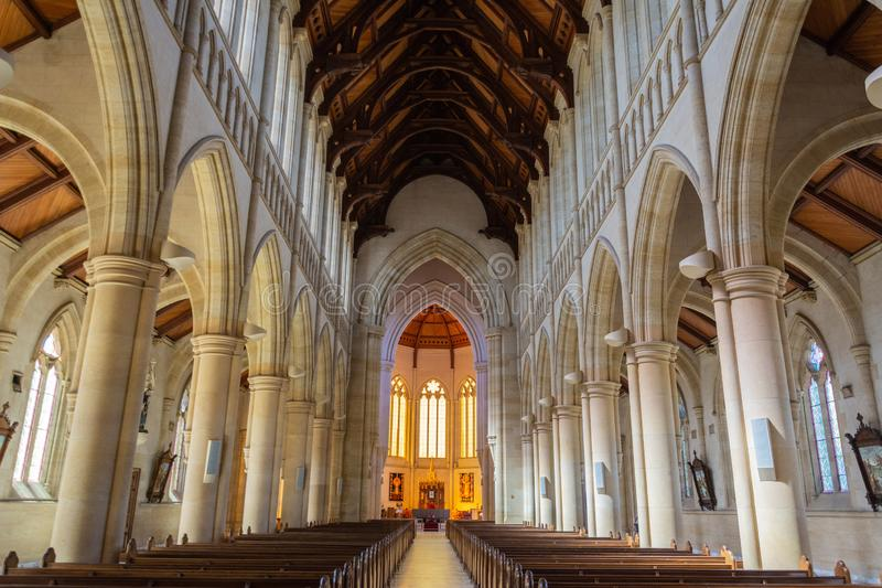 Interior view of Sacred Heart Cathedral in Bendigo, VIC stock image