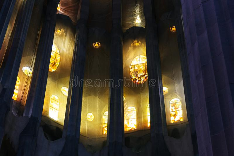 Interior view of Sagrada Familia royalty free stock photo