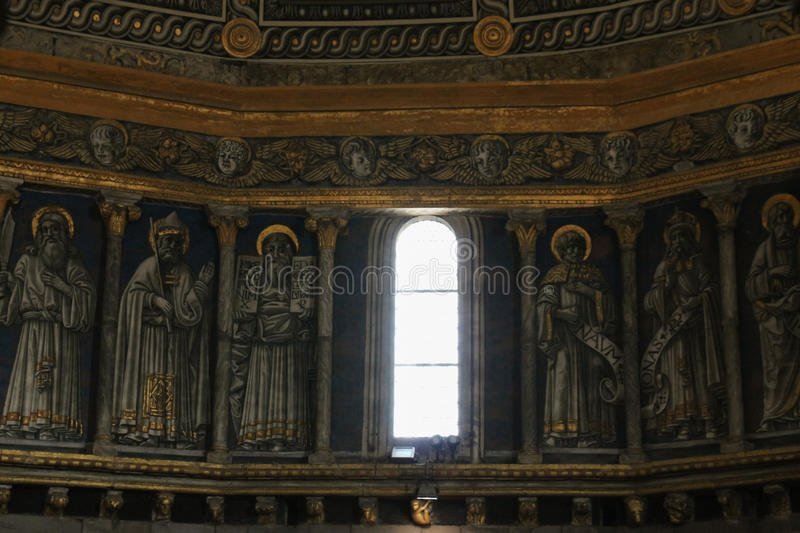 Interior view of the Siena Cathedral dome. Tuscany, Italy. royalty free stock photo