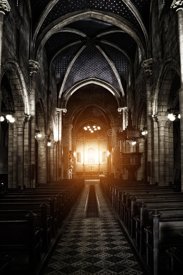 Sinister Gothic Cathedral. Interior View of a Sinister Gothic Cathedral stock photo