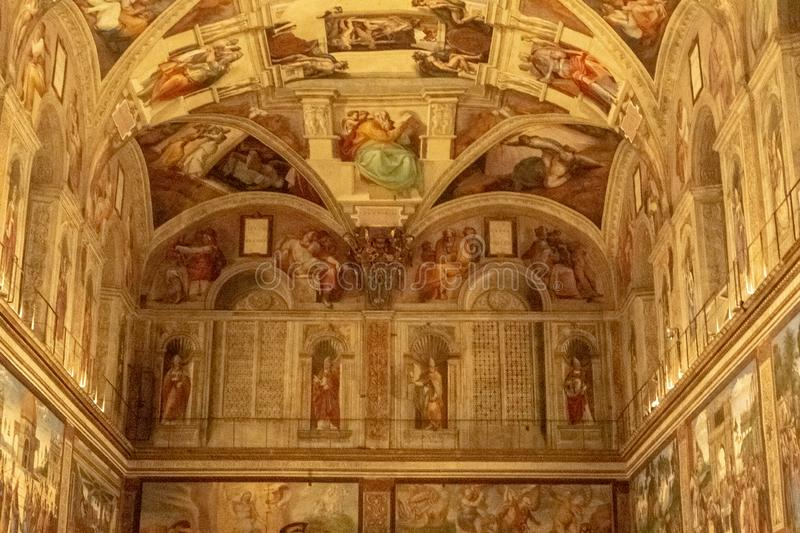 The Sistine Chapel. Interior view of the Sistine Chapel located within the Vatican in Rome, Italy stock images