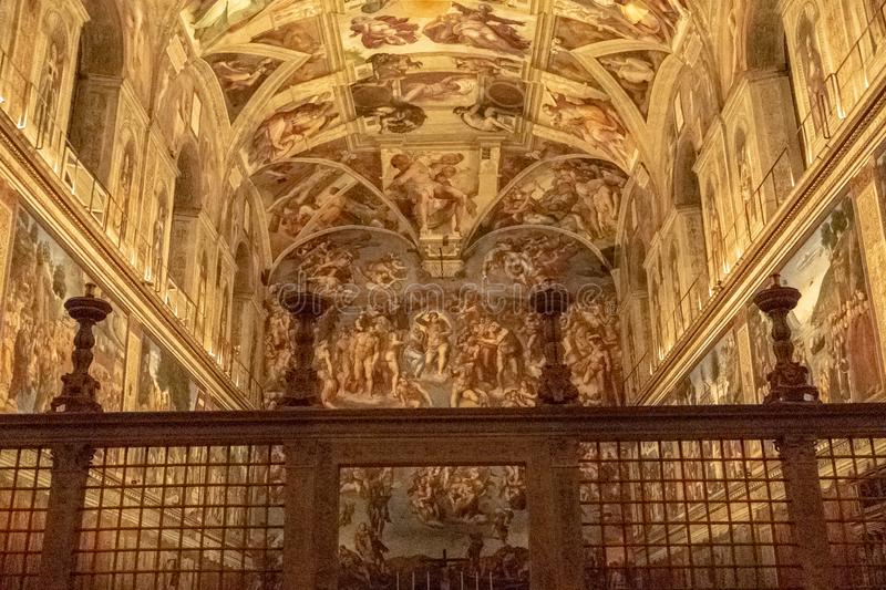 The Sistine Chapel. Interior view of the Sistine Chapel located within the Vatican in Rome, Italy royalty free stock image
