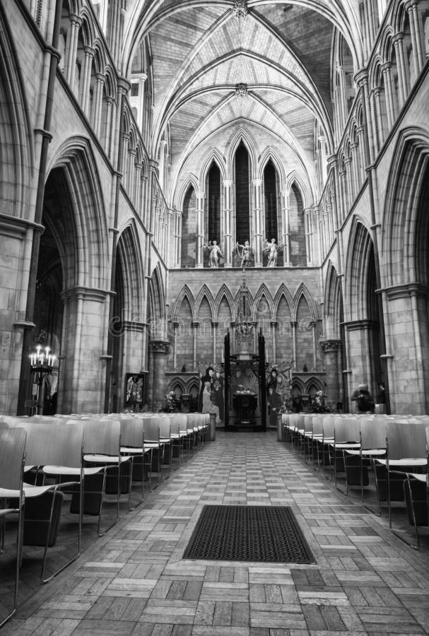 Interior view of Southwark Cathedral in London, UK stock photography