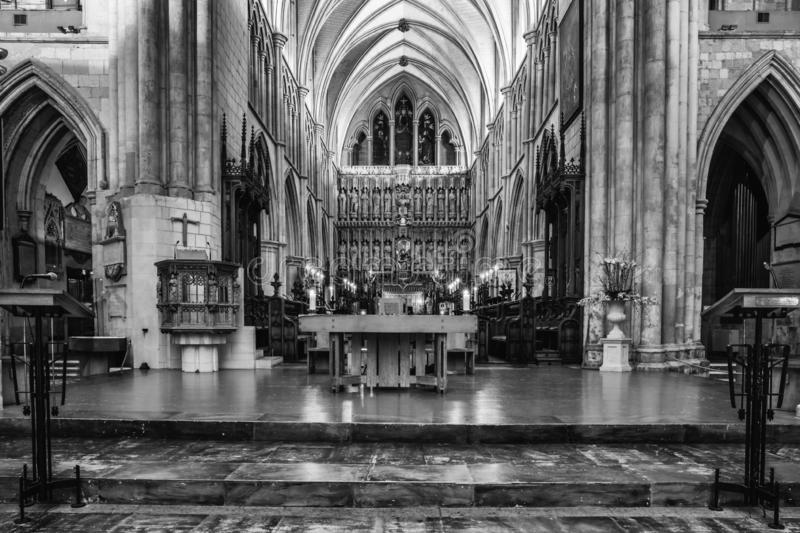 Interior view of Southwark Cathedral in London, UK stock images