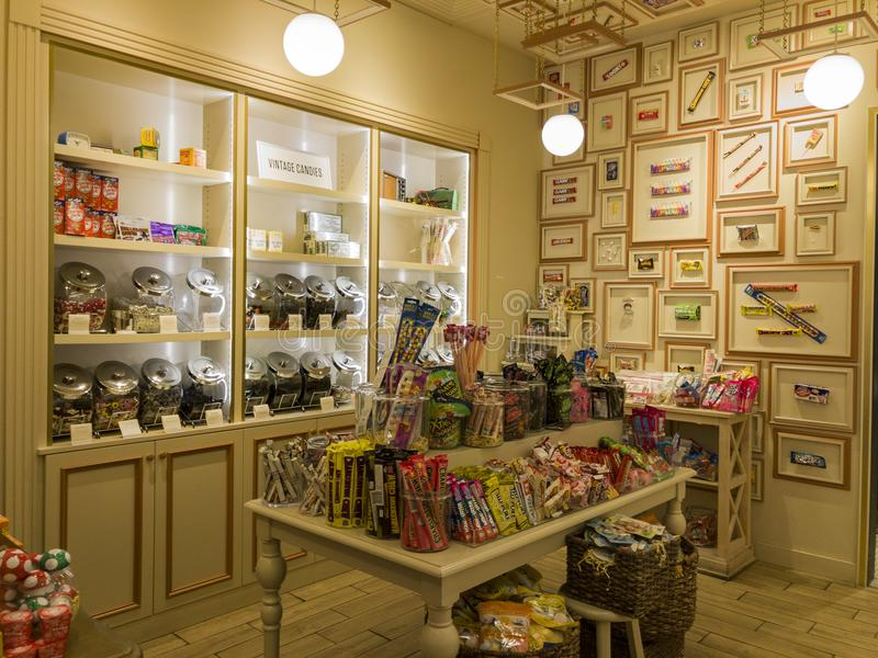 Interior view of a special candy shop in Glendale Galleria. Glendale, OCT 28: Interior view of a special candy shop in Glendale Galleria on OCT 28, 2017 at royalty free stock image